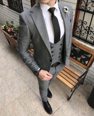5ec2be074375f Terziademaltun - İtalyan stil ceket yelek pantolon gri erkek takım elbise  T2151 (1)
