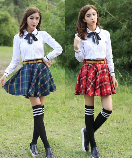 "Japanese students uniform skirt + shirt two- piece Coupon code ""cutekawaii"" for 10% off"