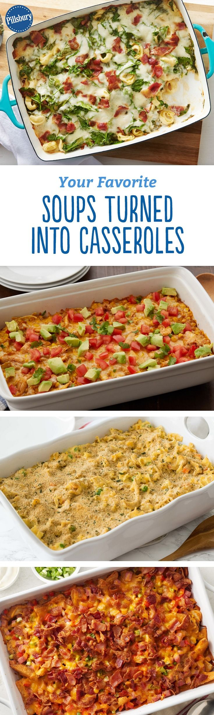 That's right. We took the best classic soups and turned them into filling, easy-to-make casseroles. Loaded Baked Potato? Check! Chicken Noodle Casserole? You bet!