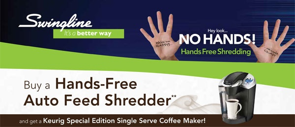 Get a #free #Keurig coffee maker when you purchase selected #Swingline Hands Free Auto Feed Shredders. Offer valid until June 30, 2013.