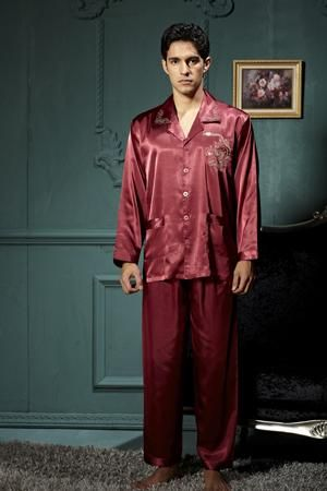 Men Pajamas Satin Pajamas Long Sleeve Pajama Pants Sets Embroidery Sleepwear 4d0023ed1