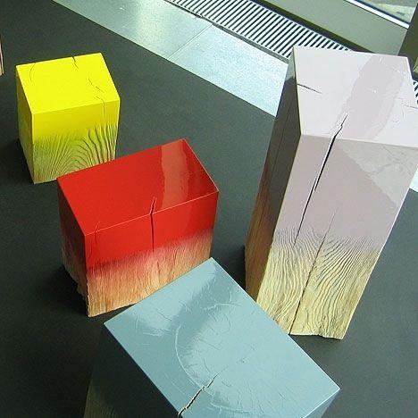 gloss & wood grain pedestals // 'Trift' pine wood trunks by German designer Judith Seng