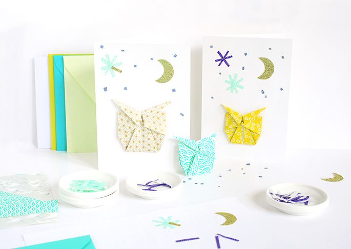 Do it yourself : jolie carte avec un petit hiboux en origami sur le blog d'Adeline Klam