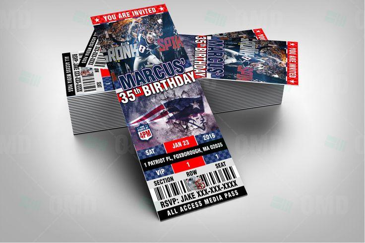 "New England Patriots Sports Party Invitation, 2.5x6"" Sports Tickets Invites, Football Birthday Theme Party Template by sportsinvites"