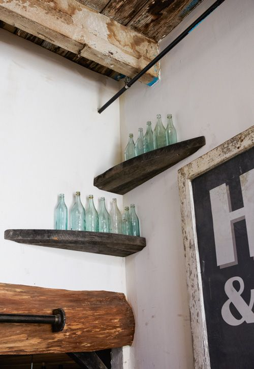 homemade corner shelves: Homemade Corner, Wood Scrap, Vintage Bottle, Salvaged Wood, Wood Shelves, Display Shelves, Corner Shelves, Shelves Jeff, Ropes Shelves