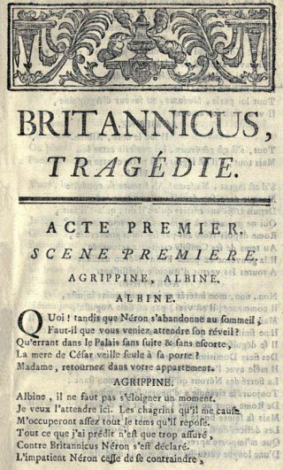 11 décembre 1670 : première représentation  de Britannicus, tragédie de Racine