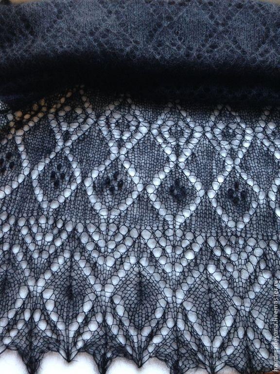 Купить Палантин Ажурные ромбы - шаль, вязание спицами, шаль спицами, шаль…