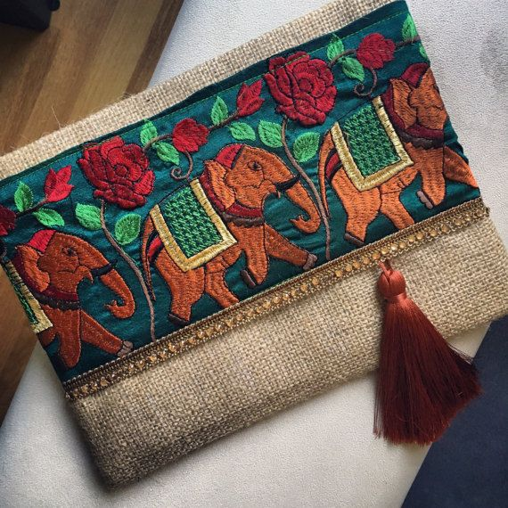 Elephant Bohemian Clutch, Boho Bag, Fashion Bag, Womens handbag, gift for her, Clutch purse, Ethnic Clutch, Jute Clutch