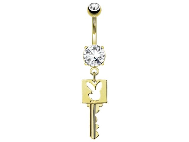 Surgical Steel 14k Gold Plated White Crystal Playboy Bunny Dangling Key Banana 1.6 X10 X5/8
