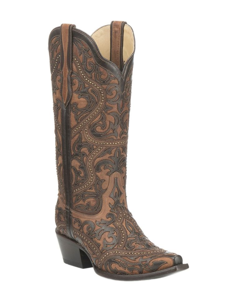 Corral Boot Company Women's Brown with Chocolate Overlay and Bronze Studs Western Snip Toe Boots | Cavender's