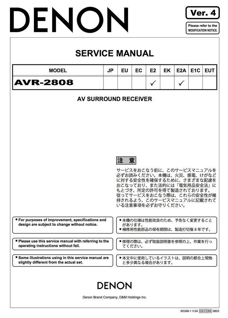 10 best denon service manuals images on pinterest manual textbook denon avr 2808 service manual complete fandeluxe Images