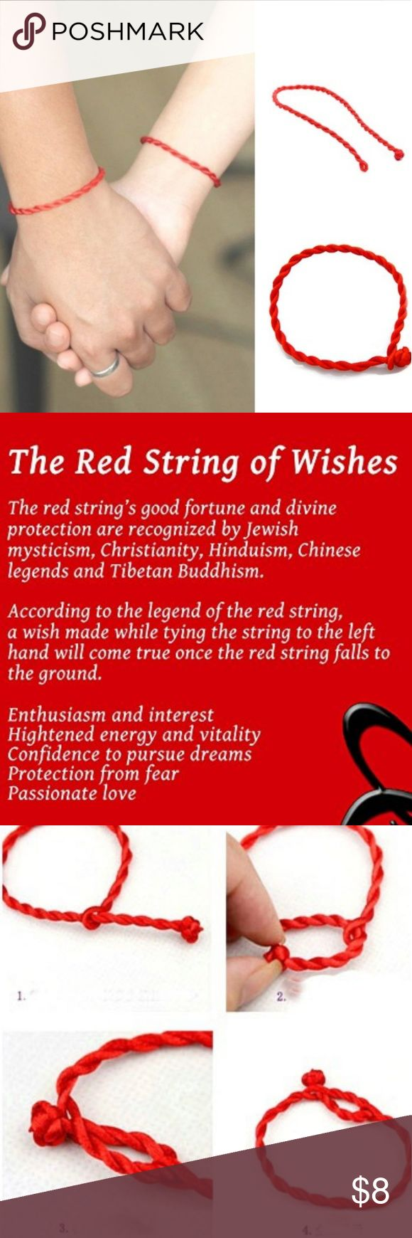 "The Red String of Wishes and Protection. It is believed the envious glare of onlookers, even without ill intentions, can cause divine repercussions. According to Kabbalistic tradition, a red string tied around one's left wrist provides protection from the destructive powers of the Evil Eye. This can also serve as a gentle reminder to value this life, and to help us reflect this sentiment daily in our thoughts, speech and actions. Handmade  Adjustable to fit most wrists  (up to 8.75""…"