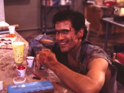 Bruce Campbell photographed on the set of Evil Dead 2