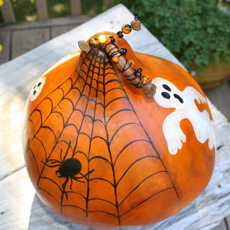 hand painted gourds | sprinkled blessings studios: Hand Painted Halloween Kettle Gourd ...