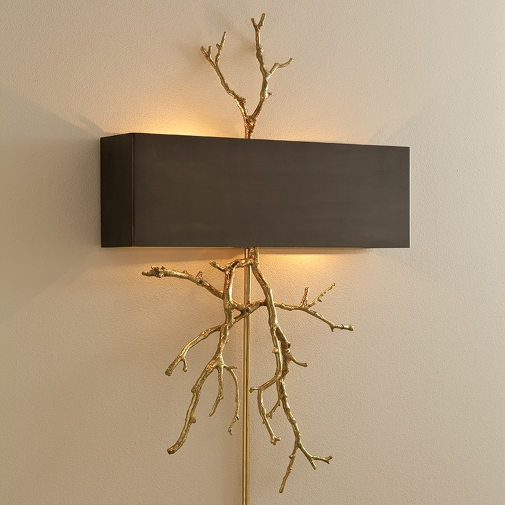 Twig Electrified Wall Sconce, in Brass.