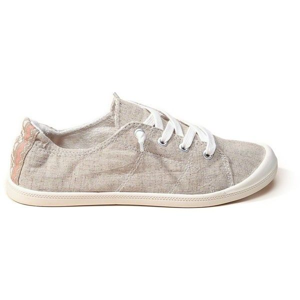 Hollister Madden Girl BAILEY Sneaker ($39) ❤ liked on Polyvore featuring shoes, sneakers, tan, wedge sneakers, wedge heel sneakers, tan shoes, tan sneakers and rubber sole wedge shoes