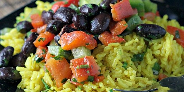 Yellow Rice Salad with Red Peppers and Spicy Black Beans