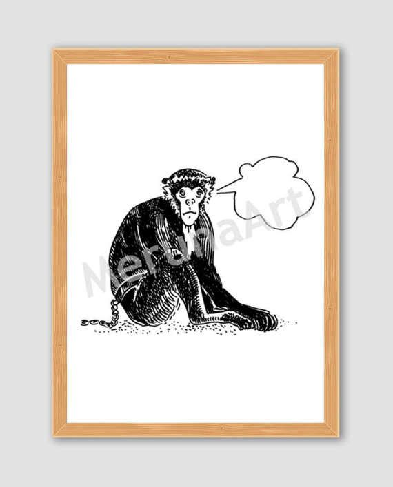 Thinker Cute Monkey Drawing Download Printable Art by MerunaArt