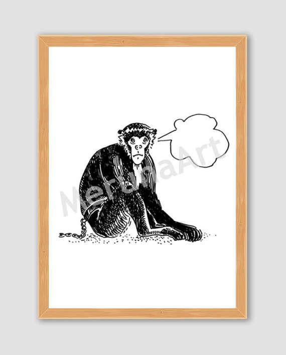 Thinker Cute Monkey Drawing Download Printable Art by MerunaArt
