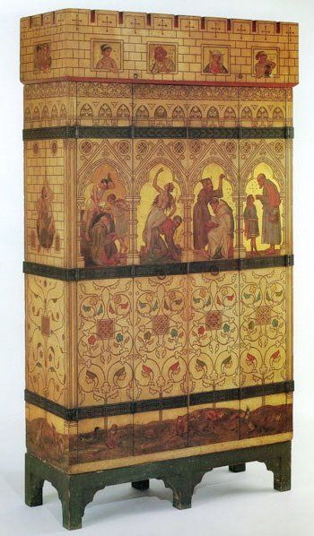 """The Philosophy Cabinet, William Burges. """"Made for the guest bedroom at Burges' home, Tower House 1878-9. The painted decoration illustrates the personal problems that undermine the lofty thoughts of philosophers. An entry in Burges's estimate book for Jan 1879 relates to Campbell, Smith & Co's decoration: """"Own wardrobe painting- 9 birds @ 5/-, 14 flies, eggs etc. @2/- and decoration @ £2.0.0."""""""" quoted from Jeremy Cooper, Victorian and Edwardian Decor, 130. See """"Strange Genius"""" cat B24"""