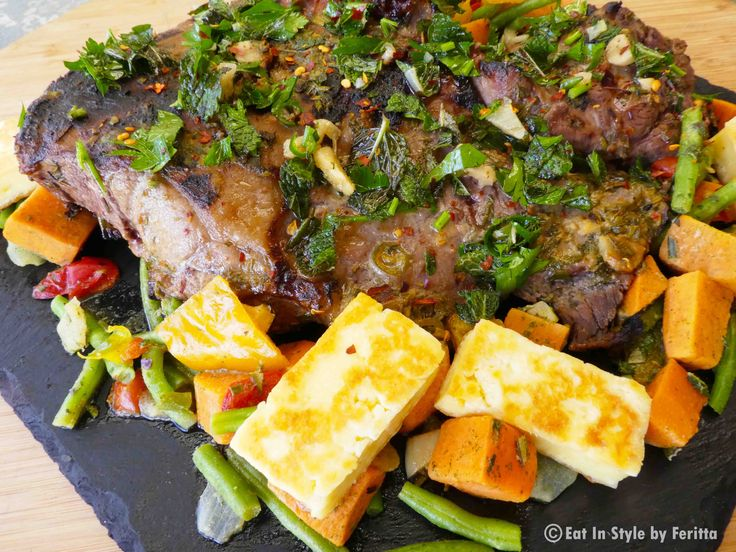 Easy Herb Lamb - served with veggies and haloumi - simply delcious!