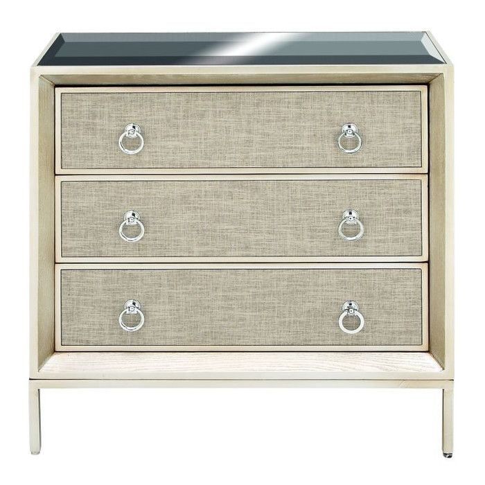 3 Drawer Wood and Metal Mirror Accent Chest & Reviews   Joss & Main
