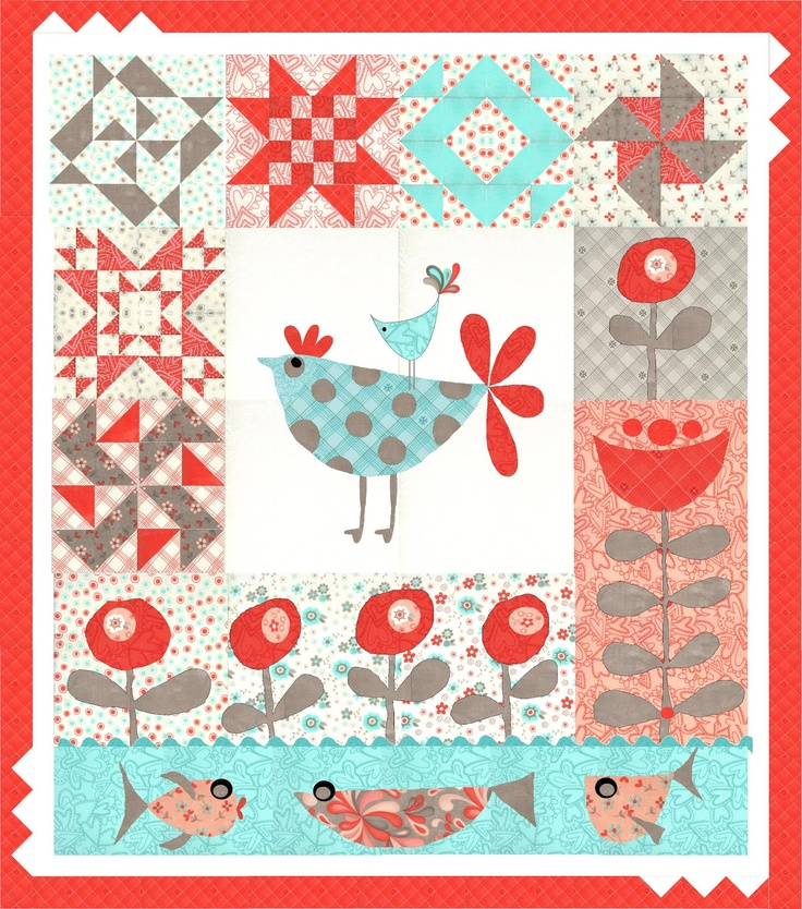 Love this!  Both the fabric collection by Sandy Gervais - and this little quilt.