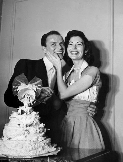 """""""A man doesn't know what happiness is until he's married. By then it's too late..."""" Singer Frank Sinatra (1915-1998), with his second wife, Ava Gardner, on their wedding day in 1951. Sinatra was also married to Nancy Barbato, Mia Farrow and Barbara Marx. (Photo courtesy Hulton Archive/Getty Images)"""