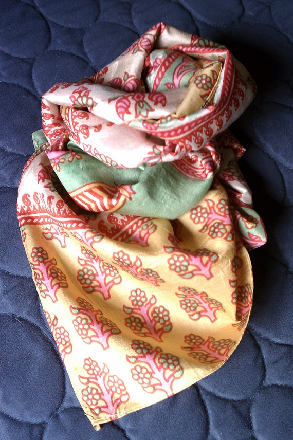 Sari Silk Scarf Printed Green Pink Yellow Woven by leatherfeathers, $24.99