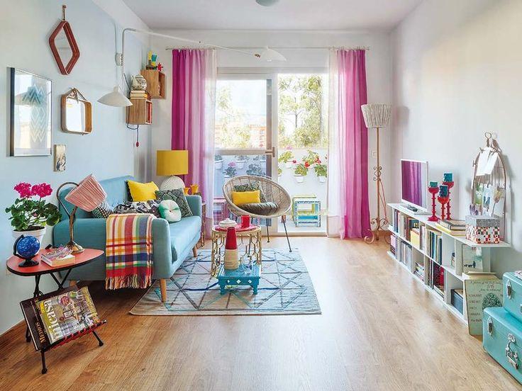 Un alegre y colorido piso de 65 m²