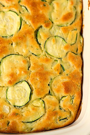 Pan of zucchini squares, straight from the oven.