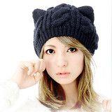 Women's Cat Hat Crochet Braided Wool Knit Cat Ear Hat & Beanie
