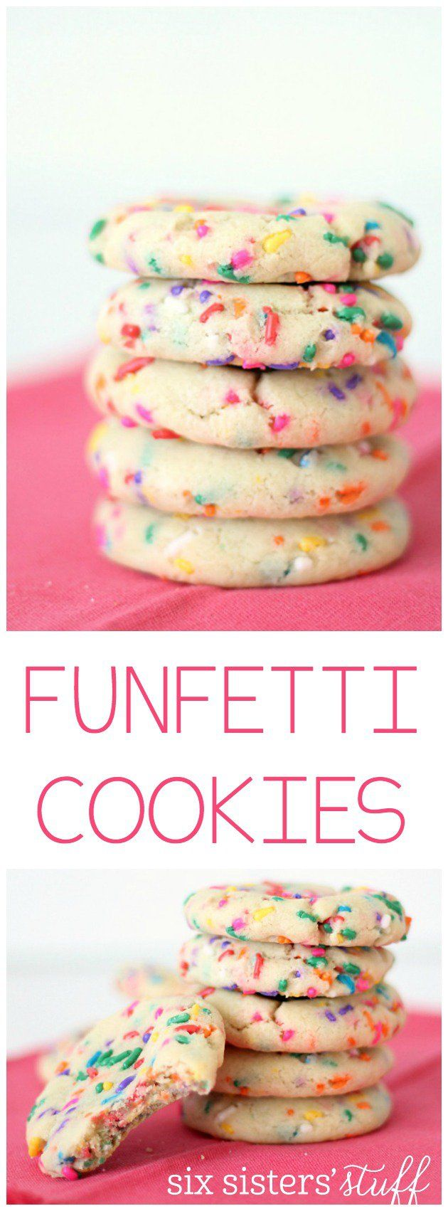 Homemade Funfetti Cookies from SixSistersStuff.com | This soft and chewy cookie with a funfetti twist is a perfect party or birthday snack your kids will love!