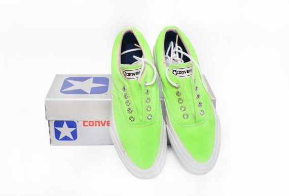 Vintage 1970s Converse Skidgrip NEON Green Canvas Sneakers Womens Sz 6 /