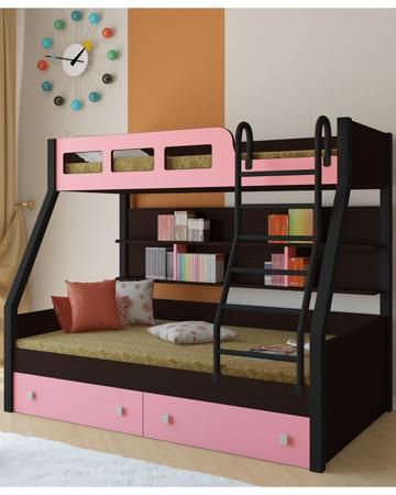 РВ мебель Рио каркас венге/черный розовая  — 21900р. ----------- Двухъярусная кровать Рио каркас венге/черный розовая РВ мебель позволит вам значительно сэкономить жизненное пространство и обеспечить два полноценных спальных места.