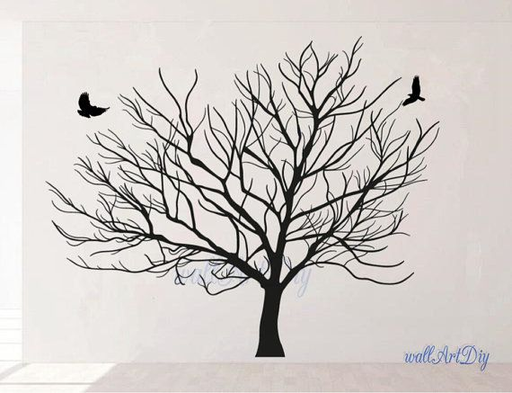 Giant winter tree wall decal Tree wall decals White door WallArtDIY