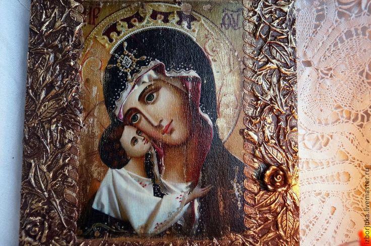 Купить Икона Божией Матери - икона, Декупаж, икона в подарок, Икона на заказ