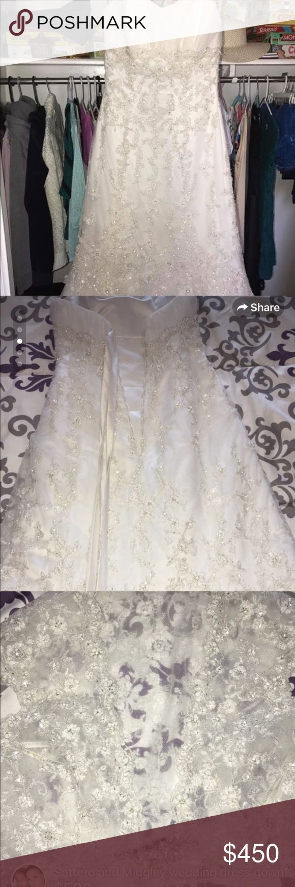 Sottero and Midgley never worn wedding gown size 8 Never worn and unaltered Sottero and Midgley wedding dress with beautiful beading and lace up back. Size 8. Strapless and comes with a a beaded cover up. Mermaid style fit. Make me an offer! Sottero and Midgley Dresses Wedding