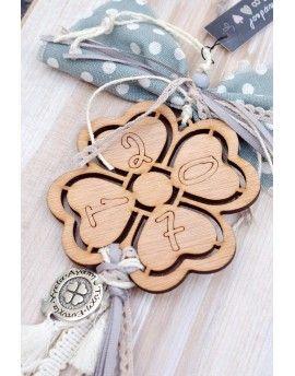 Γούρι Wooden Four-leaf Clover & Tassels