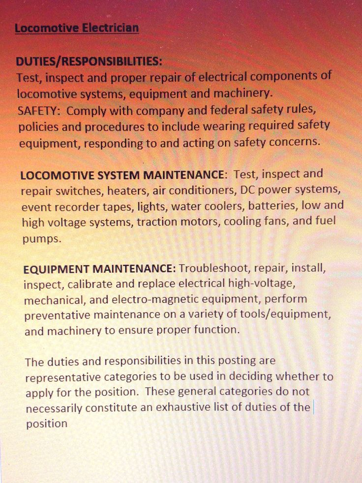 job description for locomotive electrician - Responsibilities Of An Electrician