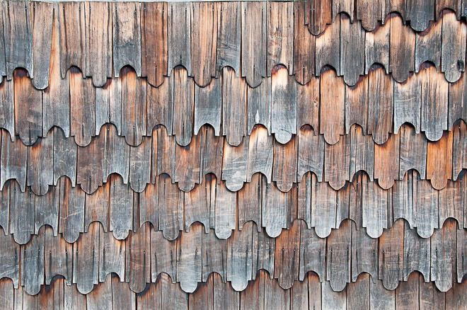 Typical wooden shingles of Chiloe, Chonchi, Chiloe