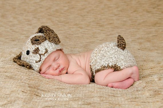 Newborn Baby Puppy Hat and Diaper Cover Photo by CraftyKsCrochet