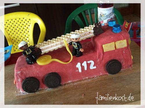 Tolles Feuerwehrauto als Kuchen zum Kindergeburtstag, Feuerwehrkuchen, Feuerwehrparty