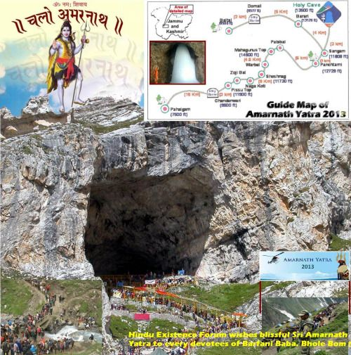 Guide Map of Amarnath Temple Yatra, Cave Ice Lingam (via hinduexistence.org)
