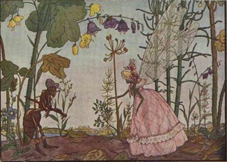 """Georgiy Narbut – #Illustration to Ivan Krylov's #fable """"The Ant & the Dragonfly"""" (1912)."""