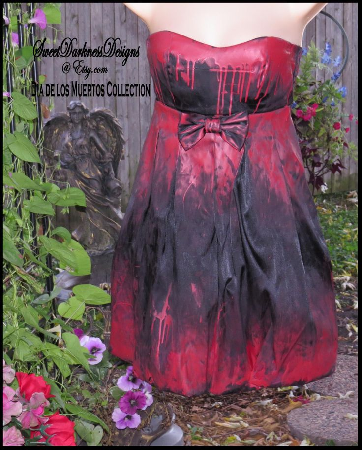 BLooDY VAMPIRE DRESS Hand Painted  Bloody Devil Dress Sexy Halloween Dress FLaming Devil Zombie Size SMALL Dress by SweetDarknessDesigns by SweetDarknessDesigns on Etsy