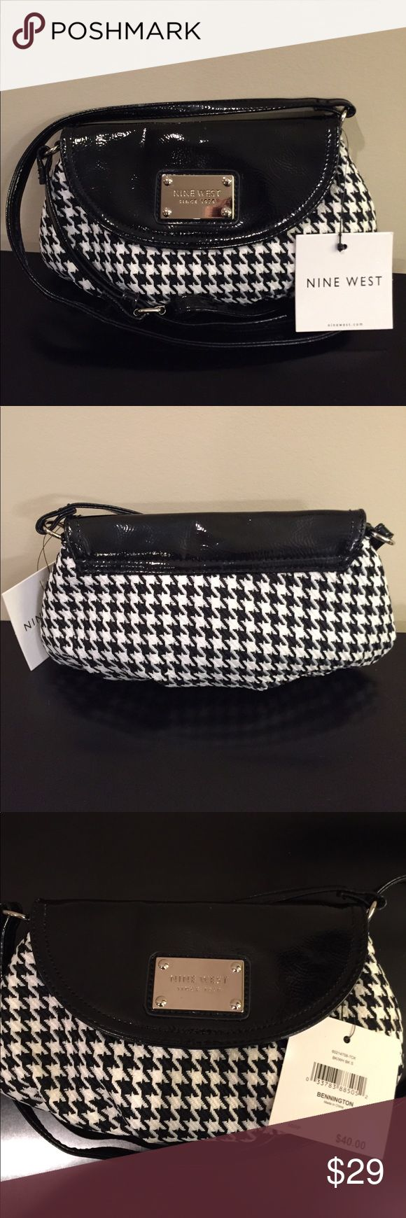 "NINE WEST Houndstooth Crossbody Bag Purse NWT Adorable NINE WEST ""Bennington"" Black & White Houndstooth Crossbody / Shoulder Bag Brand New With Tags Retail Price: $40.00  Size: Small Measures 9.5"" (W) x 5.5"" (H) x 2"" (D) Strap Drop Adjusts From 20"" - 22.5"" Long Fully Lined Interior With One Zippered Pocket Wear As A Shoulder Bag Or Crossbody Style Perfect For Any Time You Want To Carry Your ""Essentials"" Such As Keys, Cell Phone, Cards, Cash, Lipstick, Etc. Items In Bag Shown In Photo #5 Not…"