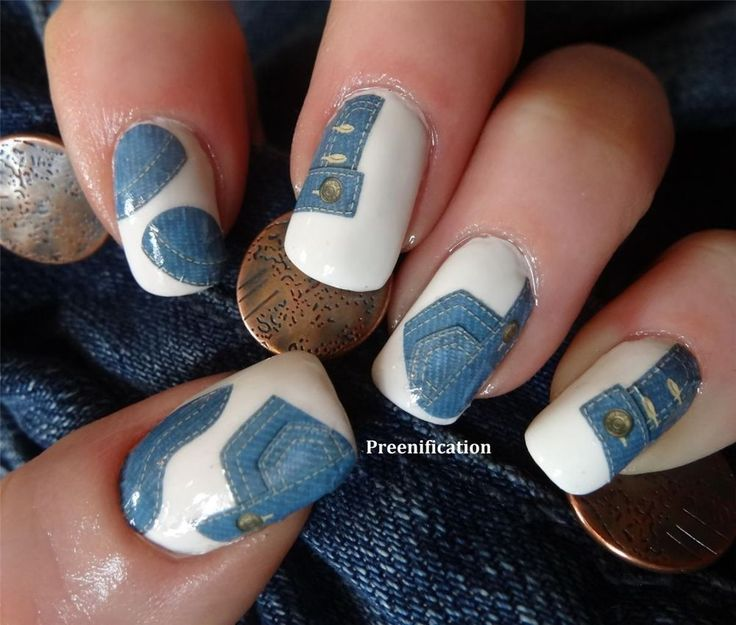 80'S DENIM JEANS EFFECT WATER SLIDE NAIL DECALS Wraps