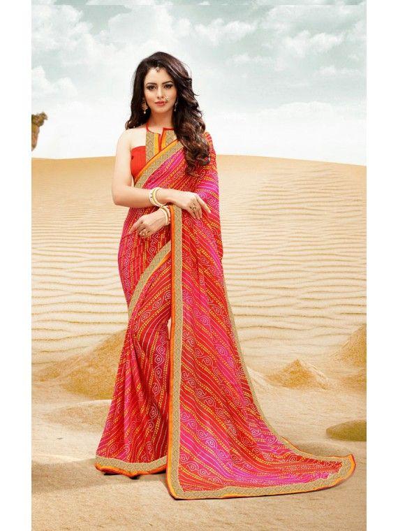 Mesmerizing Shaded Orange and Pink Bandhej Bandhej Saree