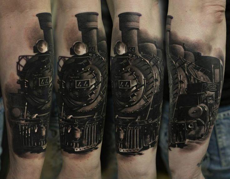Realistic train tattoo by dennis sivak tattoo photo for Sacred addition tattoo east bridgewater ma